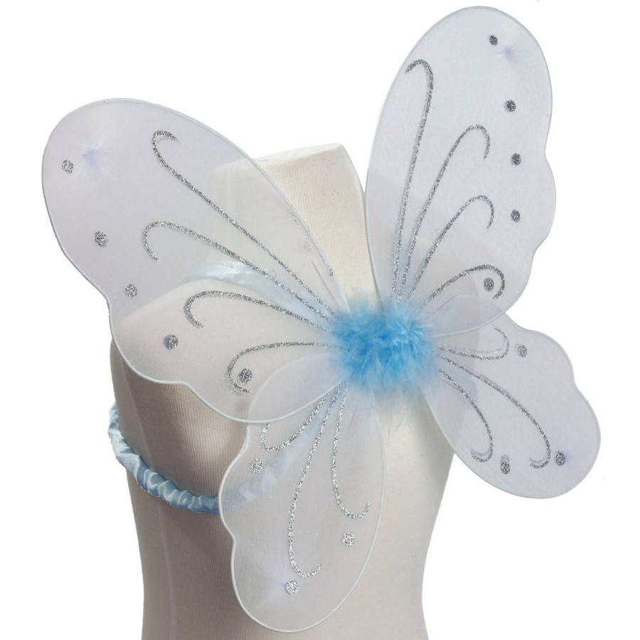 White and Blue with Silver Glitter Butterfly Fairy Wings Costume for Kids Side