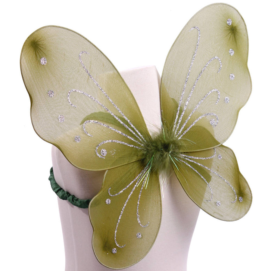 Dark Green with Silver Glitter Butterfly Fairy Wings Costume for kids Side
