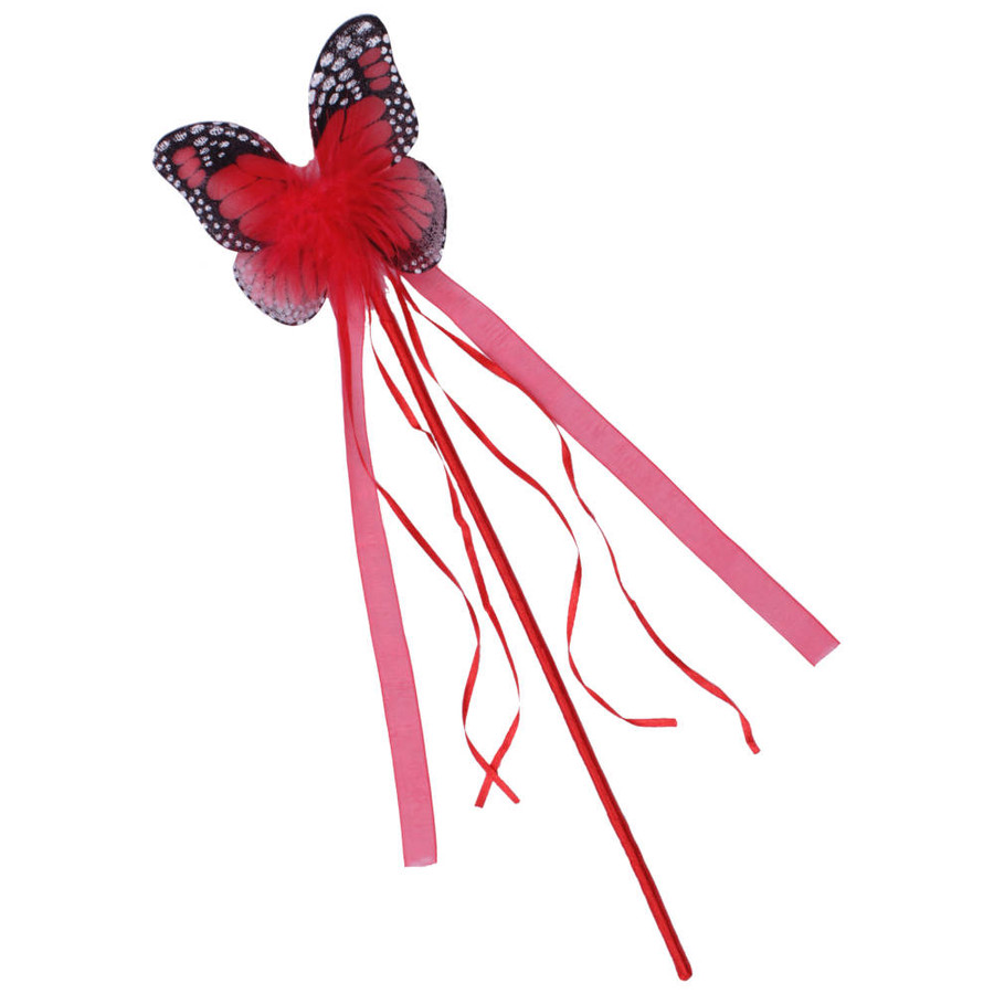 Red Monarch Butterfly Wand with matching ribbons