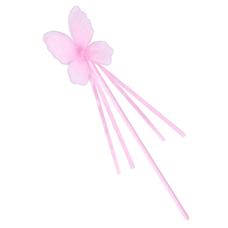 Pink Butterfly Fairy Wand with Ribbons