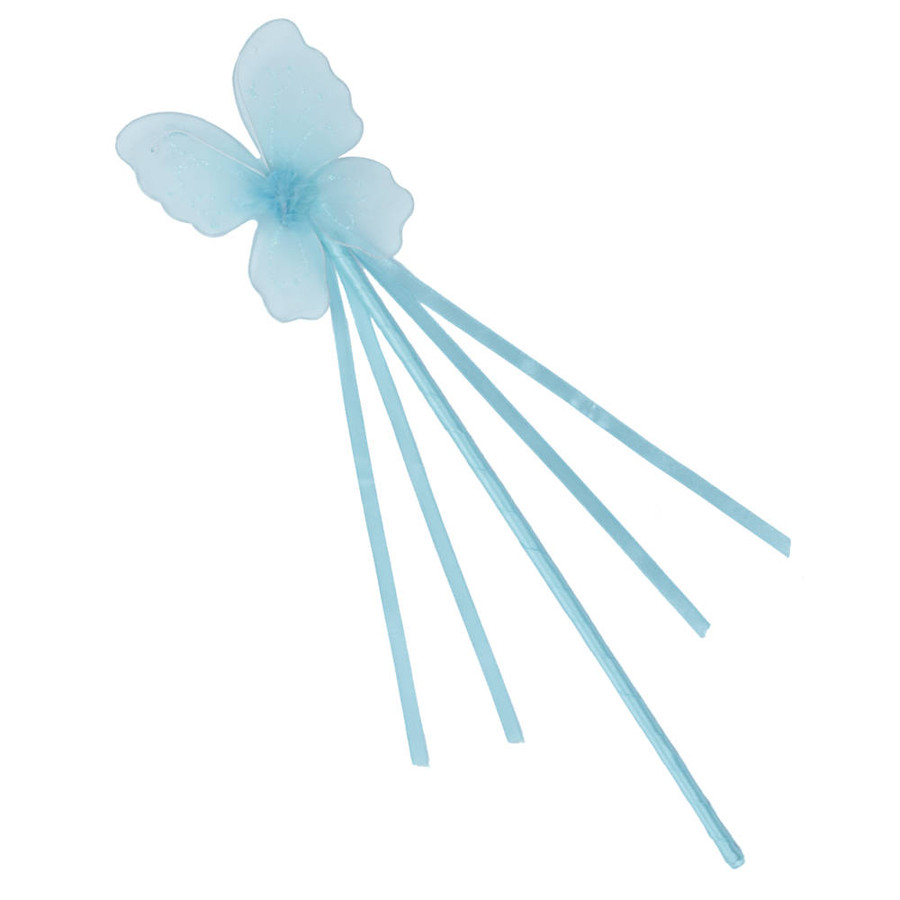 Turquoise Butterfly Fairy Wand with Ribbons