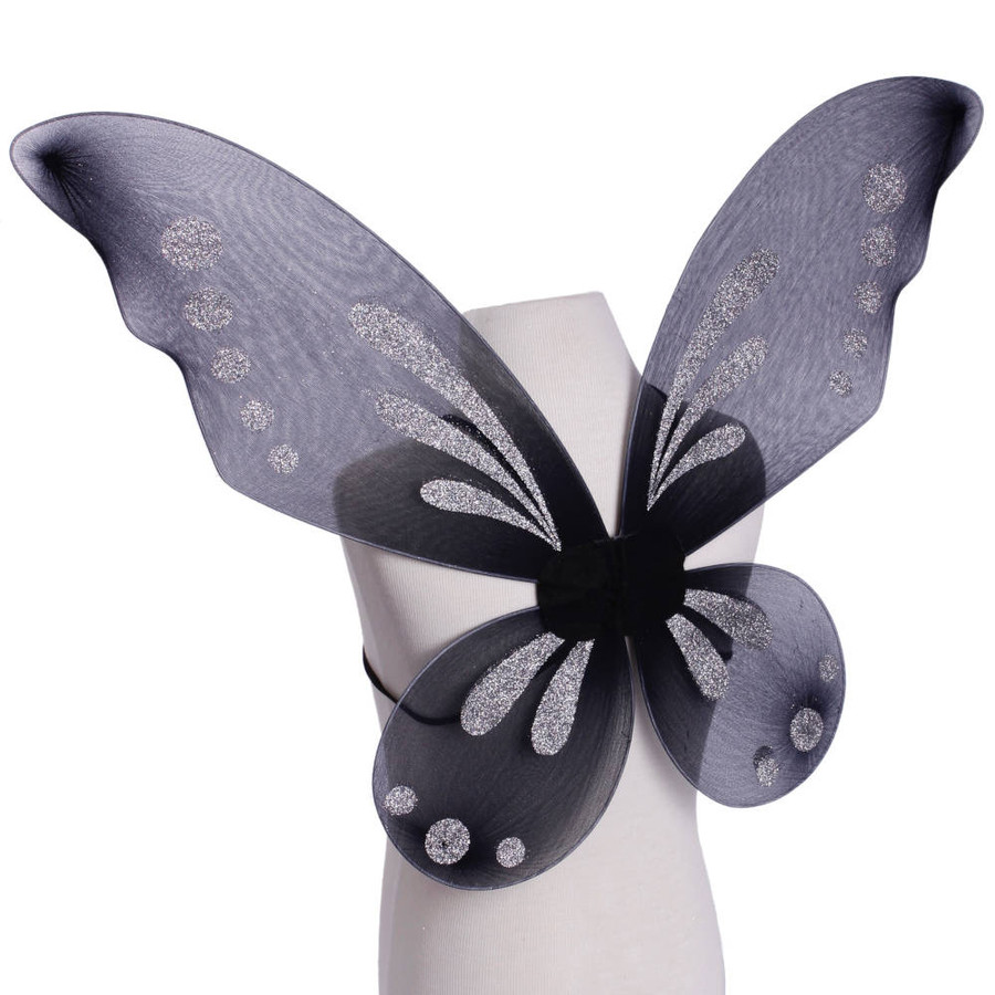 Black Pixie Fairy Wings with Silver Glitter Spots Side View
