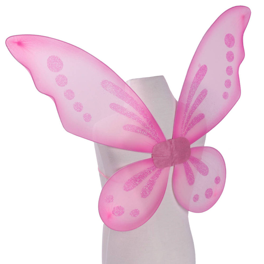 Pink Pixie Fairy Wings with Pink Glitter Spots Side View