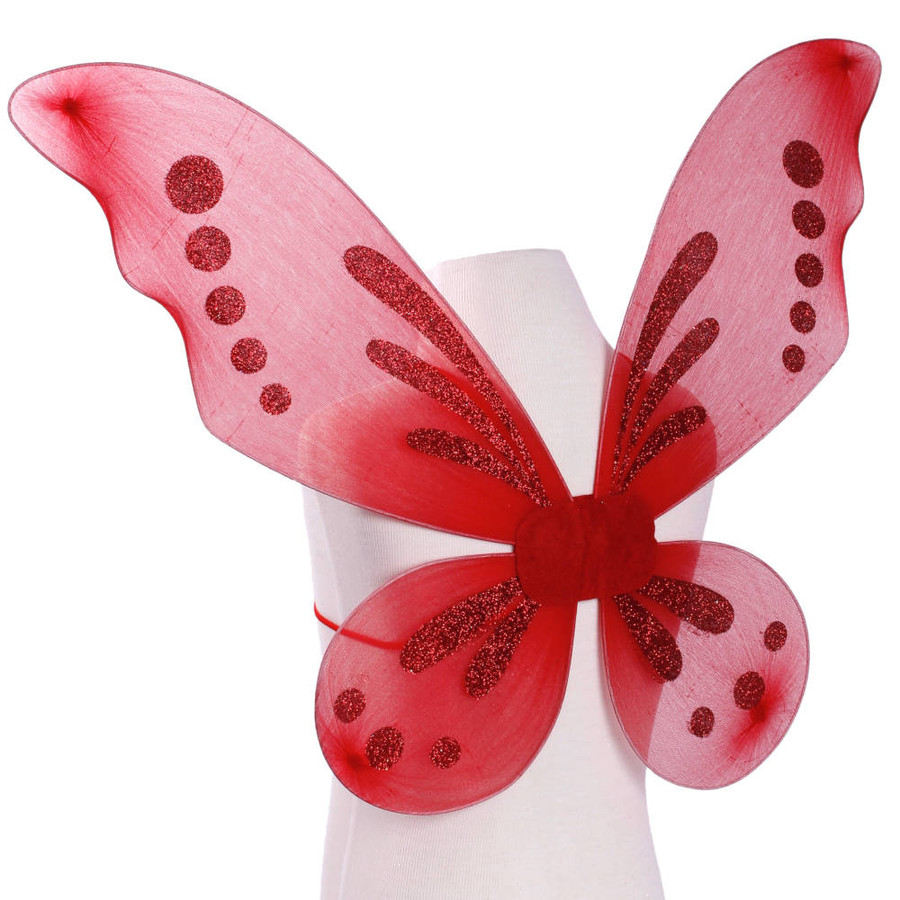 Red Pixie Fairy Wings with Red Glitter Spots Side View