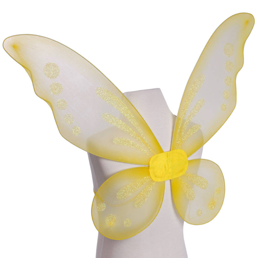 Yellow Pixie Fairy Wings with Yellow Glitter Spots Side View