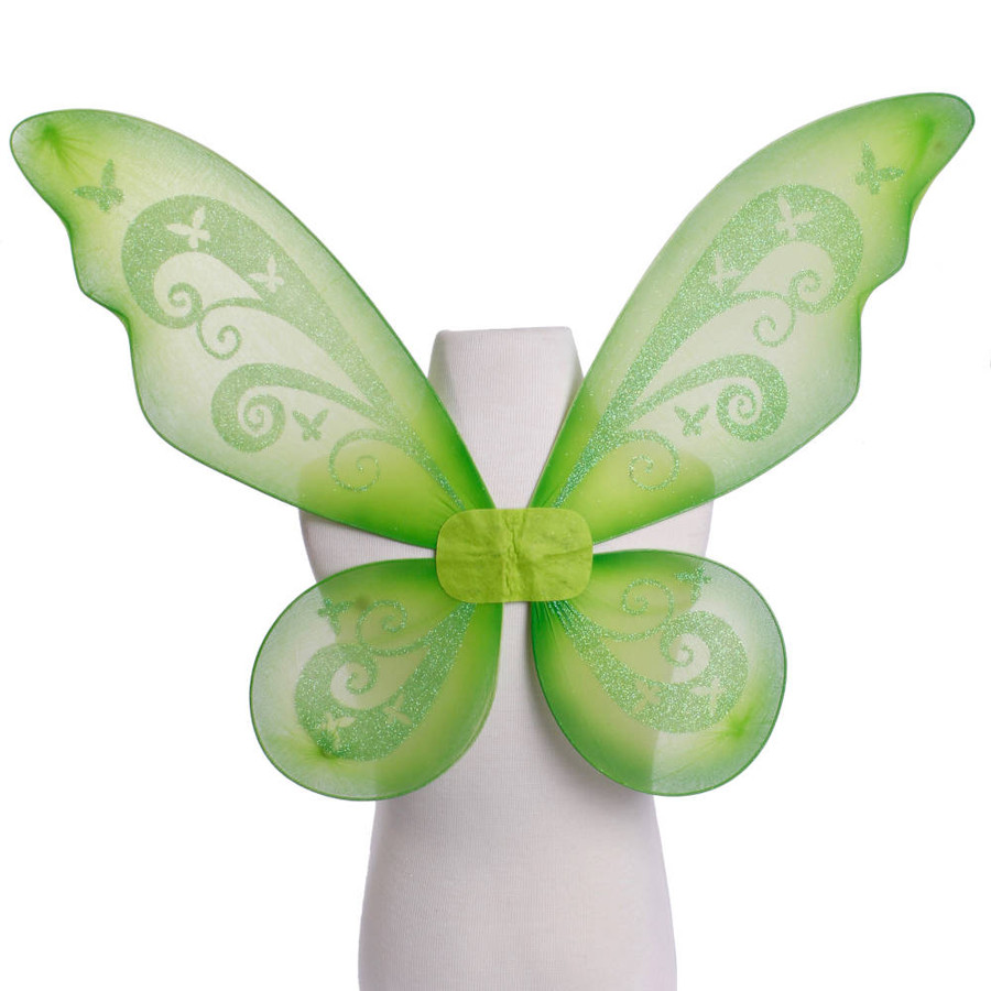 Green Pixie Fairy Wings with Green Glitter Swirls Front View