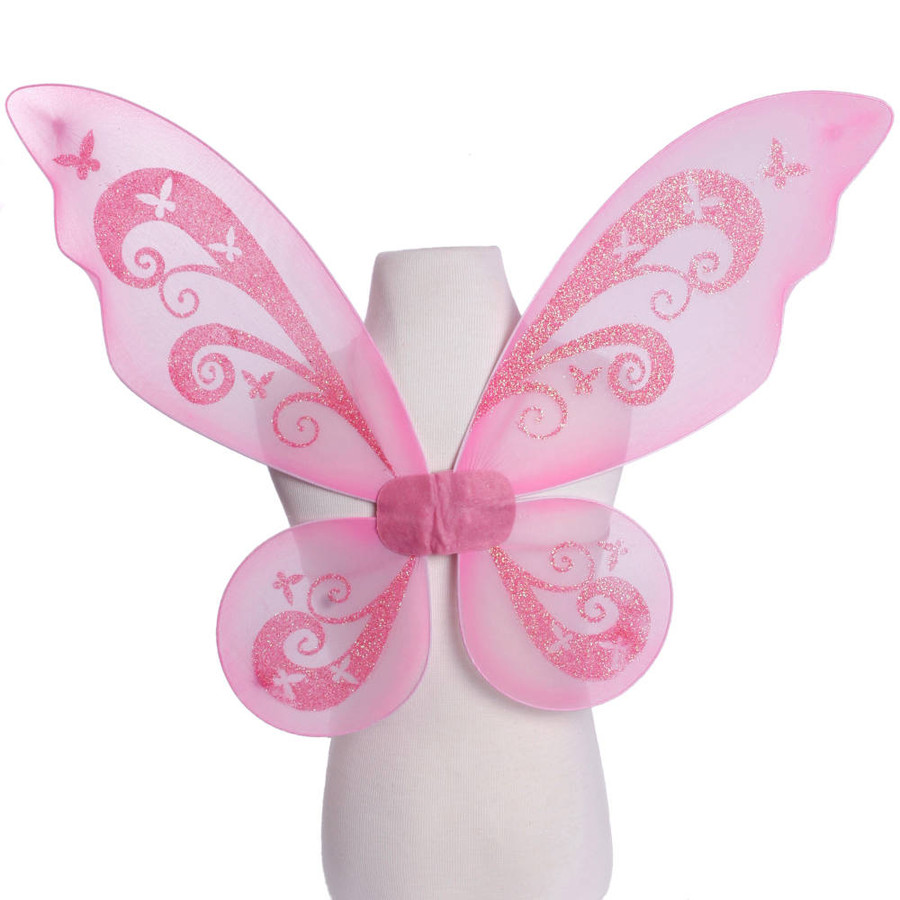 Pink Pixie Fairy Wings with Pink Glitter Swirls Front View