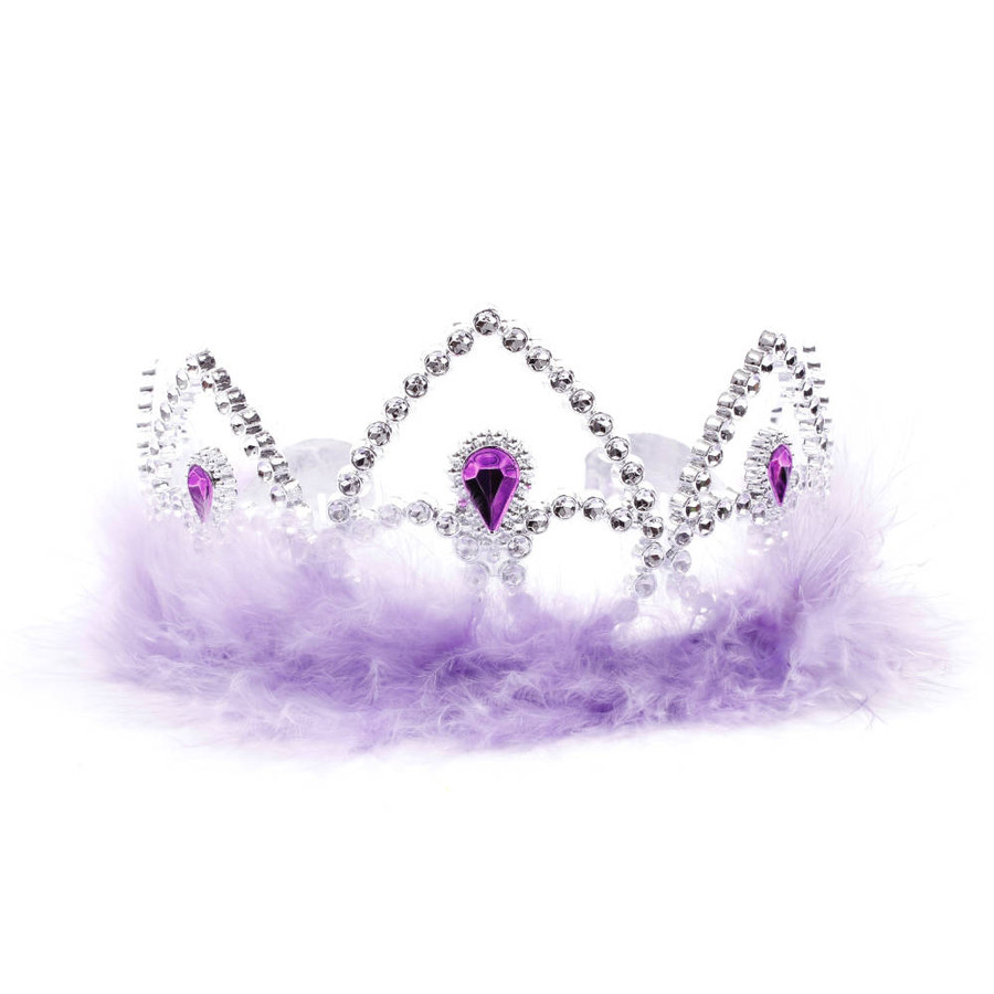 Silver Princes Tiara Crown with Lavender Feathers Front View