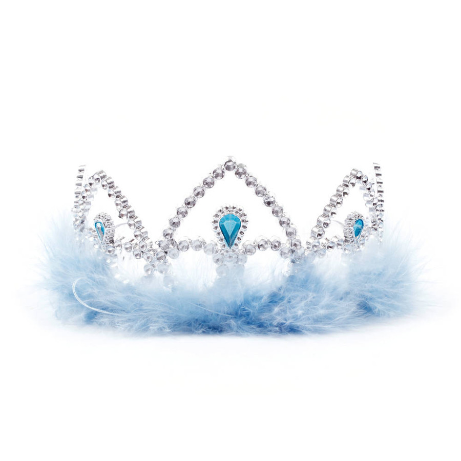 Silver Princes Tiara Crown with light blue Feathers Front View