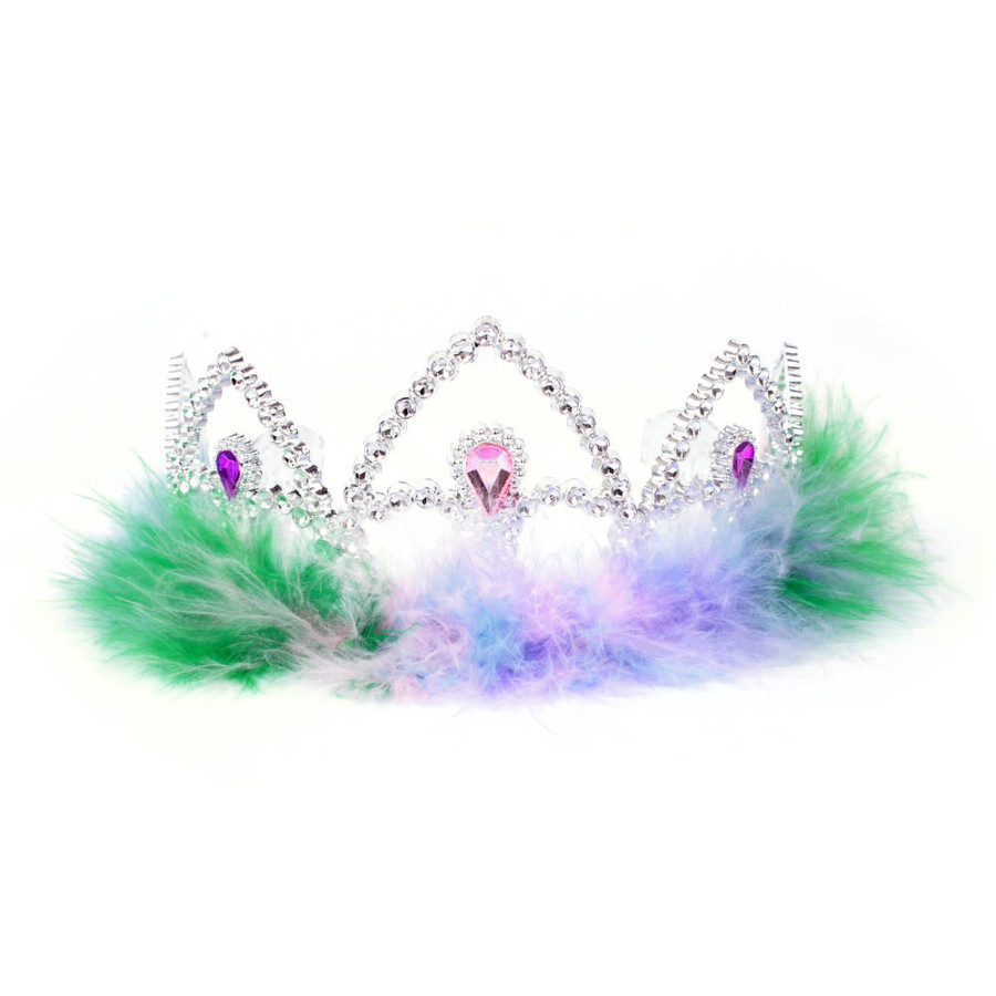 Silver Princes Tiara Crown with Green, Pink, Purple and Blue Feathers Front View