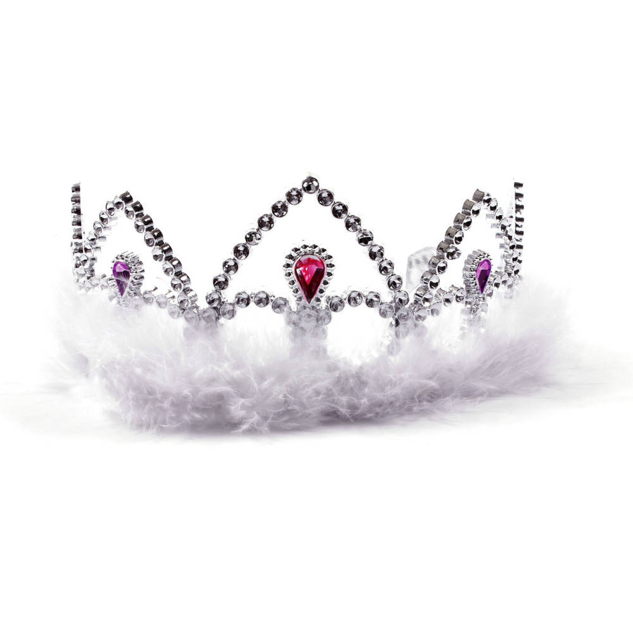 Silver Princes Tiara Crown with White Feathers Front View