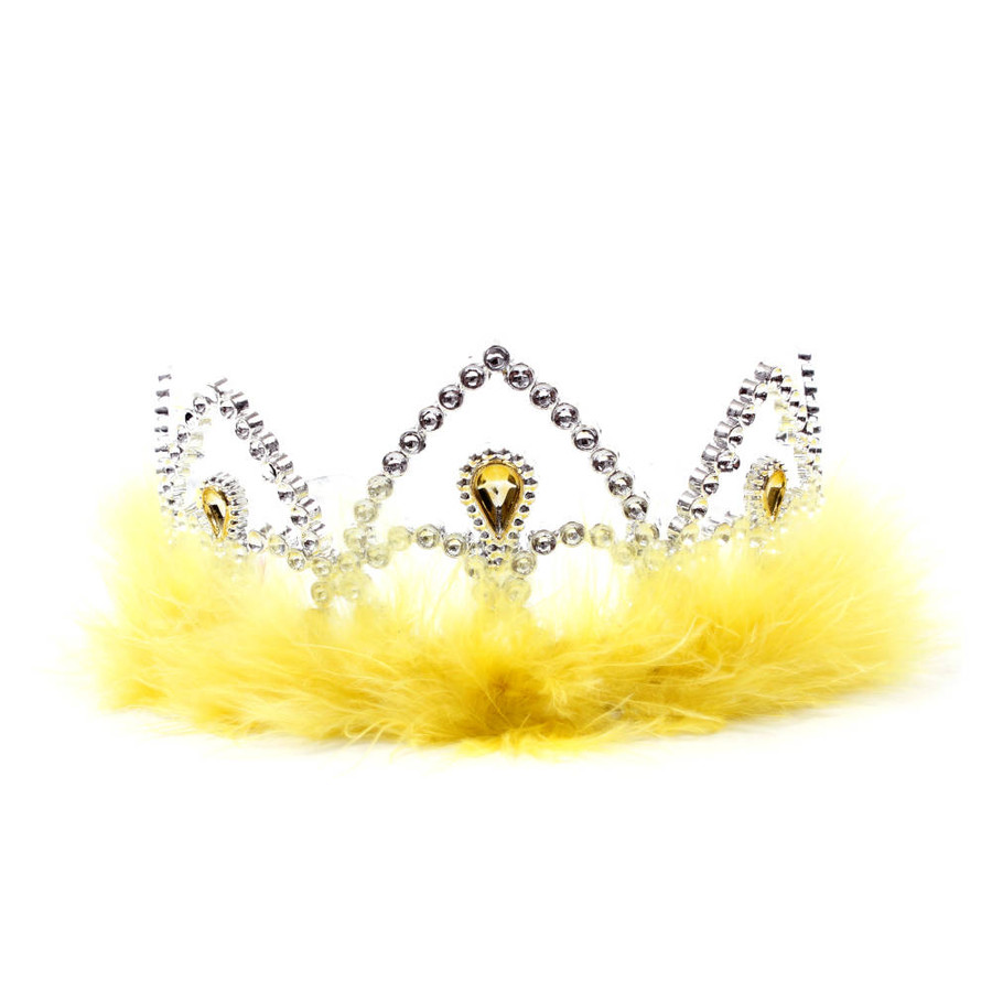 Silver Princes Tiara Crown with Yellow Feathers Front View