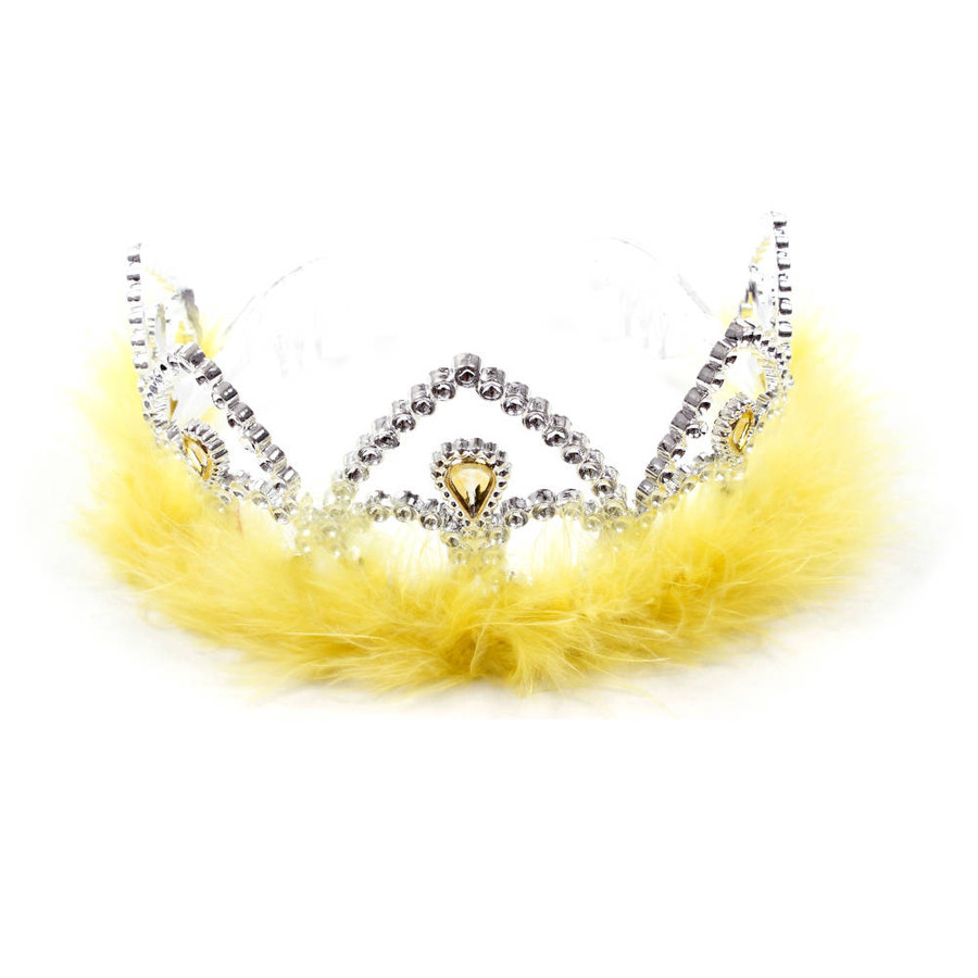Silver Princes Tiara Crown with Yellow Feathers Top View