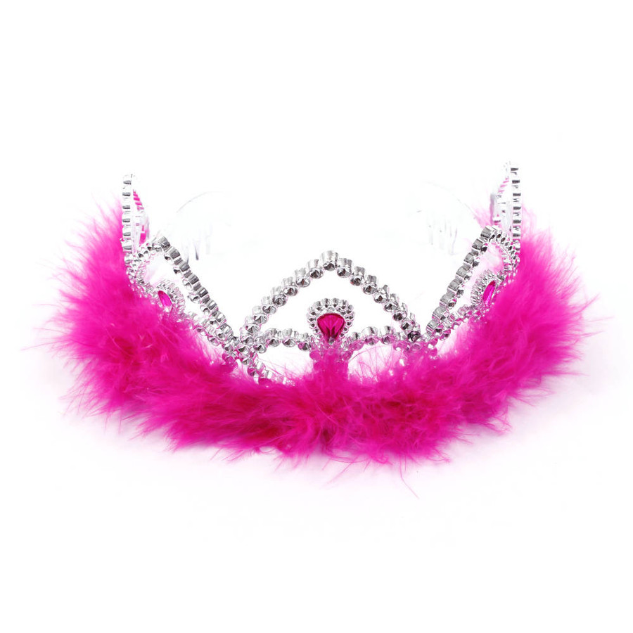 Silver Princes Tiara Crown with Dark Pink Feathers Top View