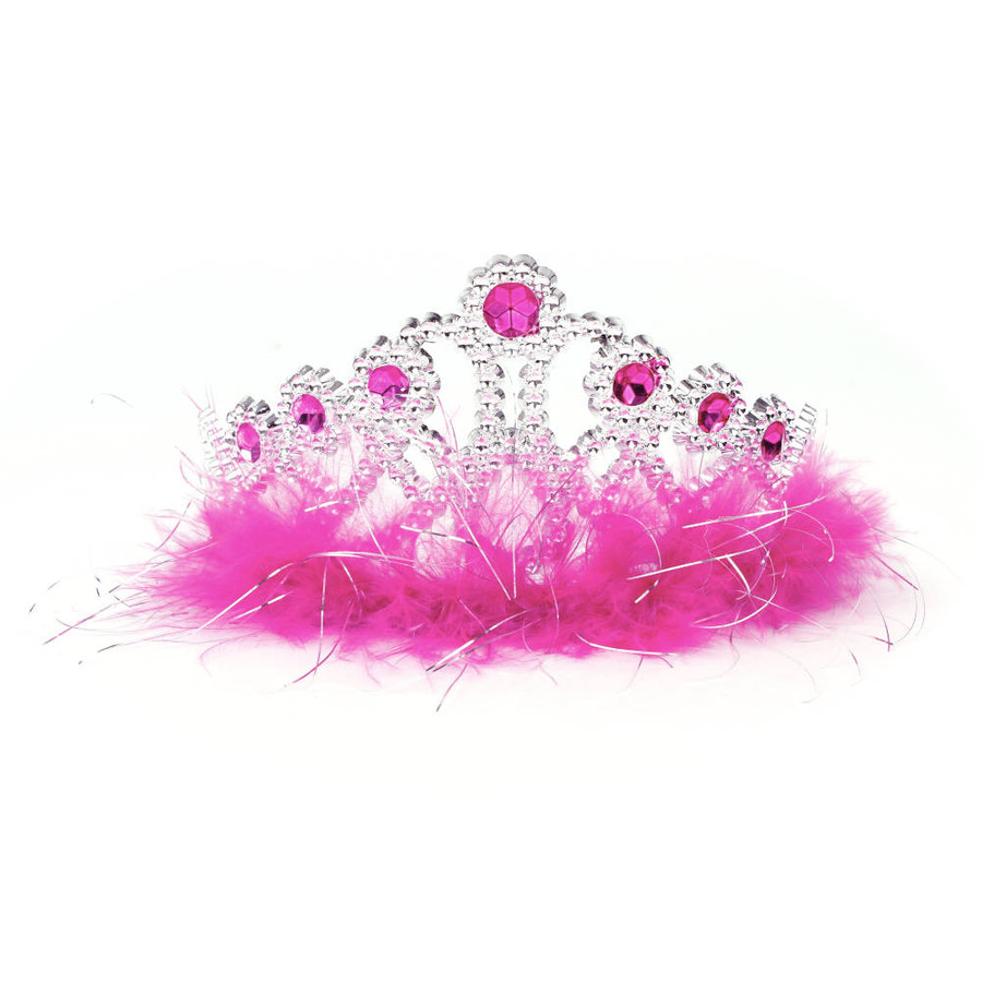 Silver Princes Tiara with Dark Pink Rhinestones and Feathers Top View
