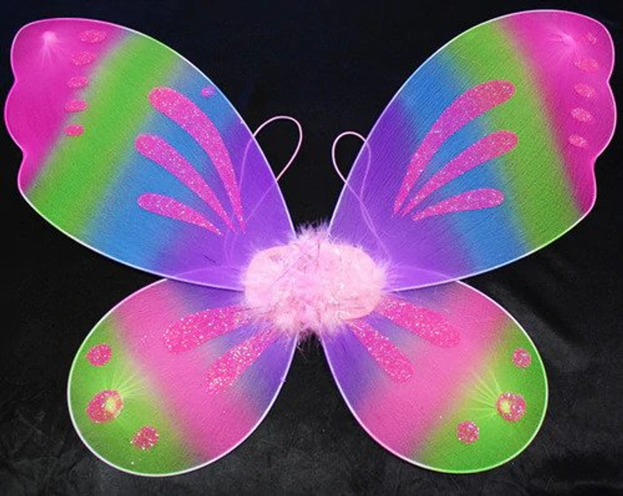 Your little one is going to love our dress up fairy wings.  These Rainbow wings are approximately 24 x 18 inches.  One size fits most.  Comes with elastic arm bands.  The fairy wings will flap and flutter as your little princess dances with her costume.