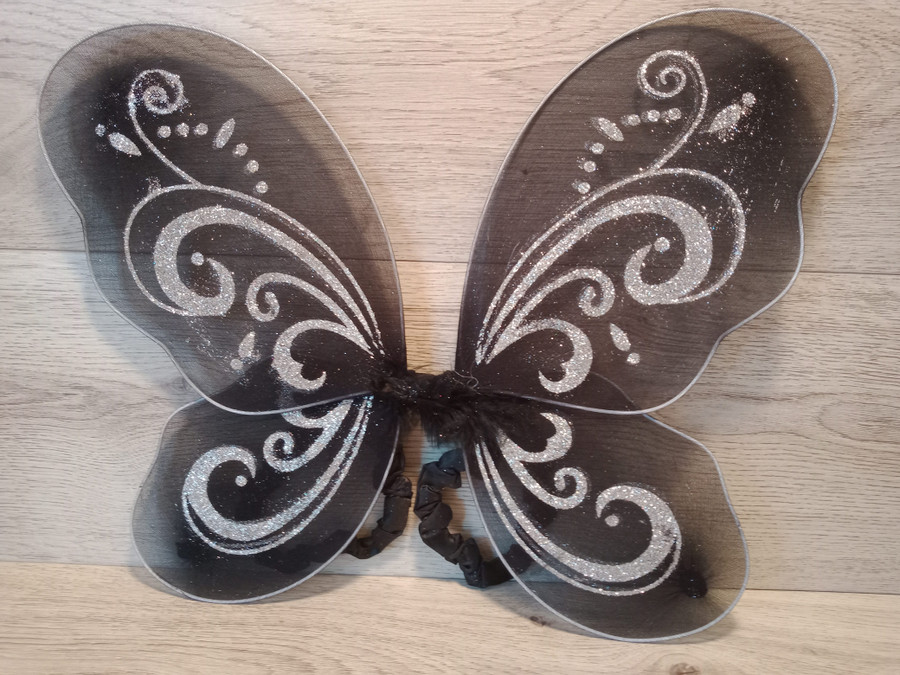 Black Butterfly Wings With Bold Silver Glitter