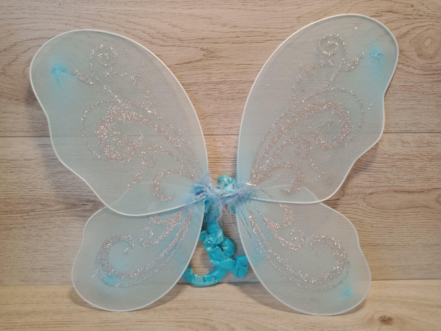 Light blue Butterfly Wings With Bold Silver Glitter