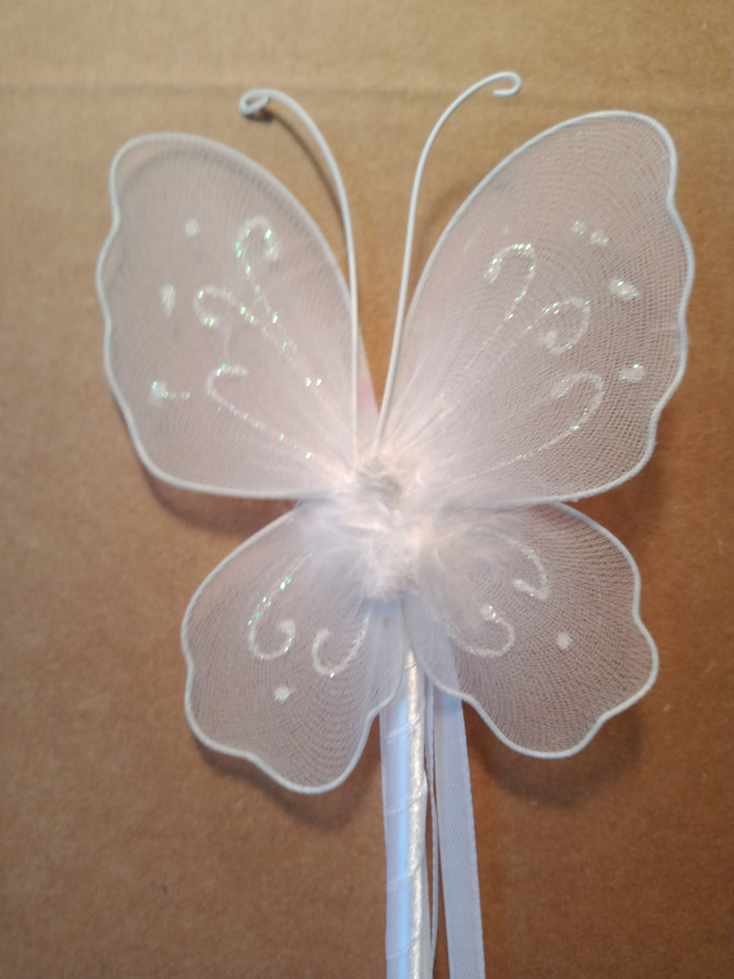 White Butterfly wand with Glitter