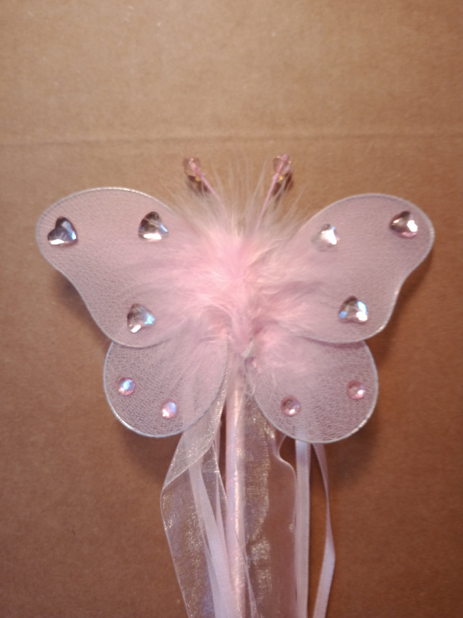 Light pink Butterfly wand with pink hearts