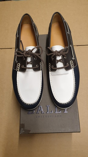 Bally Shoes - Ex Display - Navy Blue & Off White Leather Boat Shoe