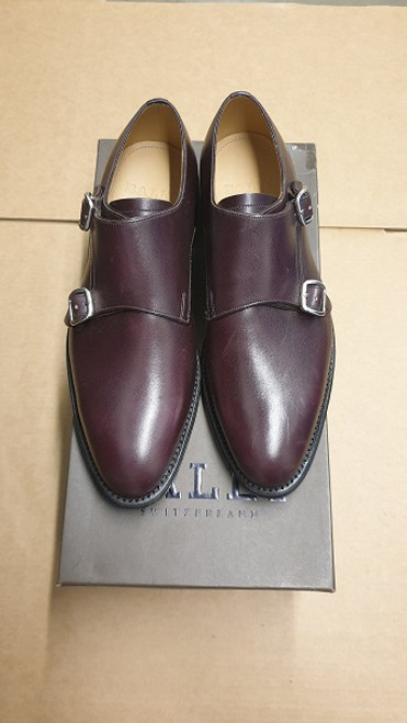 Bally Shoes - Ex Display Double Strap Aubergine Man Calf Plain