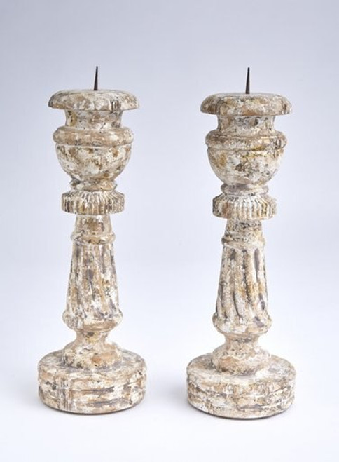 Rustic Whitewashed French Candlestick
