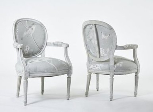 Pair of Louis XVI Chairs in Chinois Cotton