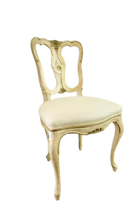 Pair of French Chairs, with Ivory Upholstery