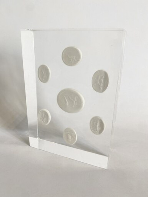 Sawyer Collection Lucite with 7 Plaster Intaglios