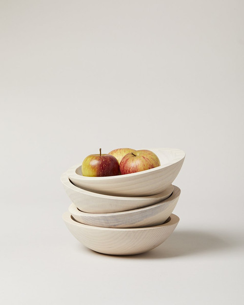 Crafted Wooden Bowl - White