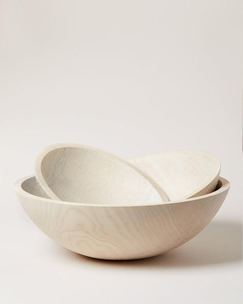 """Crafted Wooden Bowl - 12"""" White"""