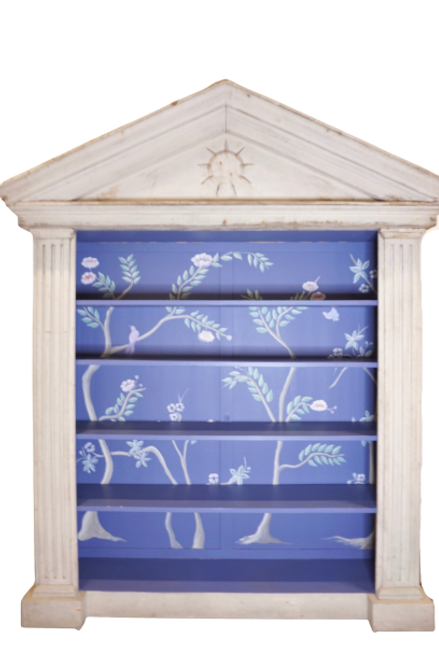 Antique Architectural Bookcase with Hand-Painted Interior