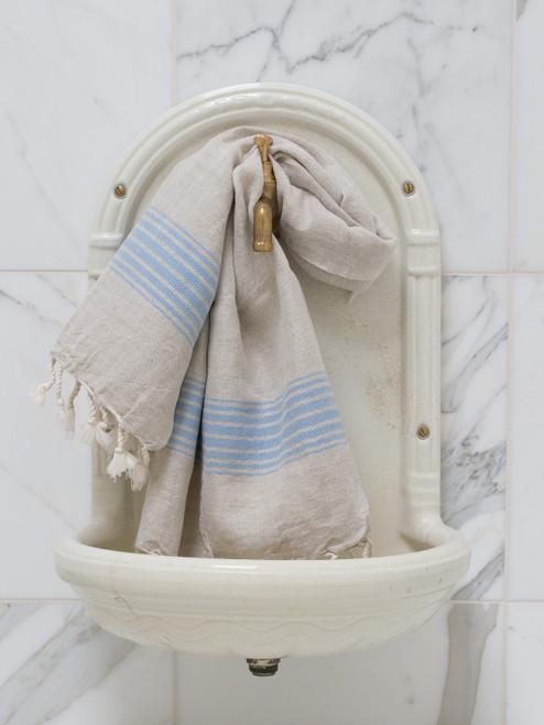 Linen Hammam Towel Blue Striped