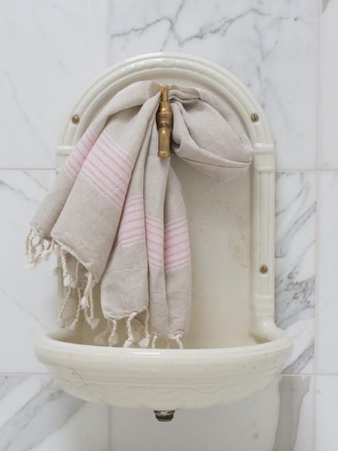 Linen Hammam Towel Pink Striped