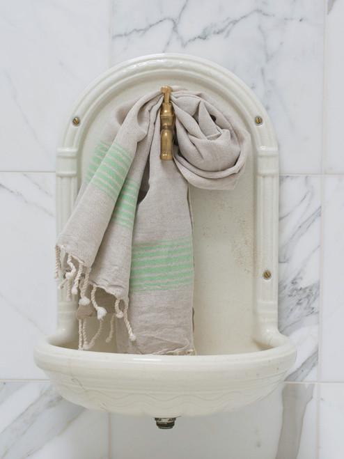 Linen Hammam Towel Pistachio Striped