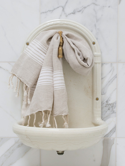 Linen Hammam Towel White Striped