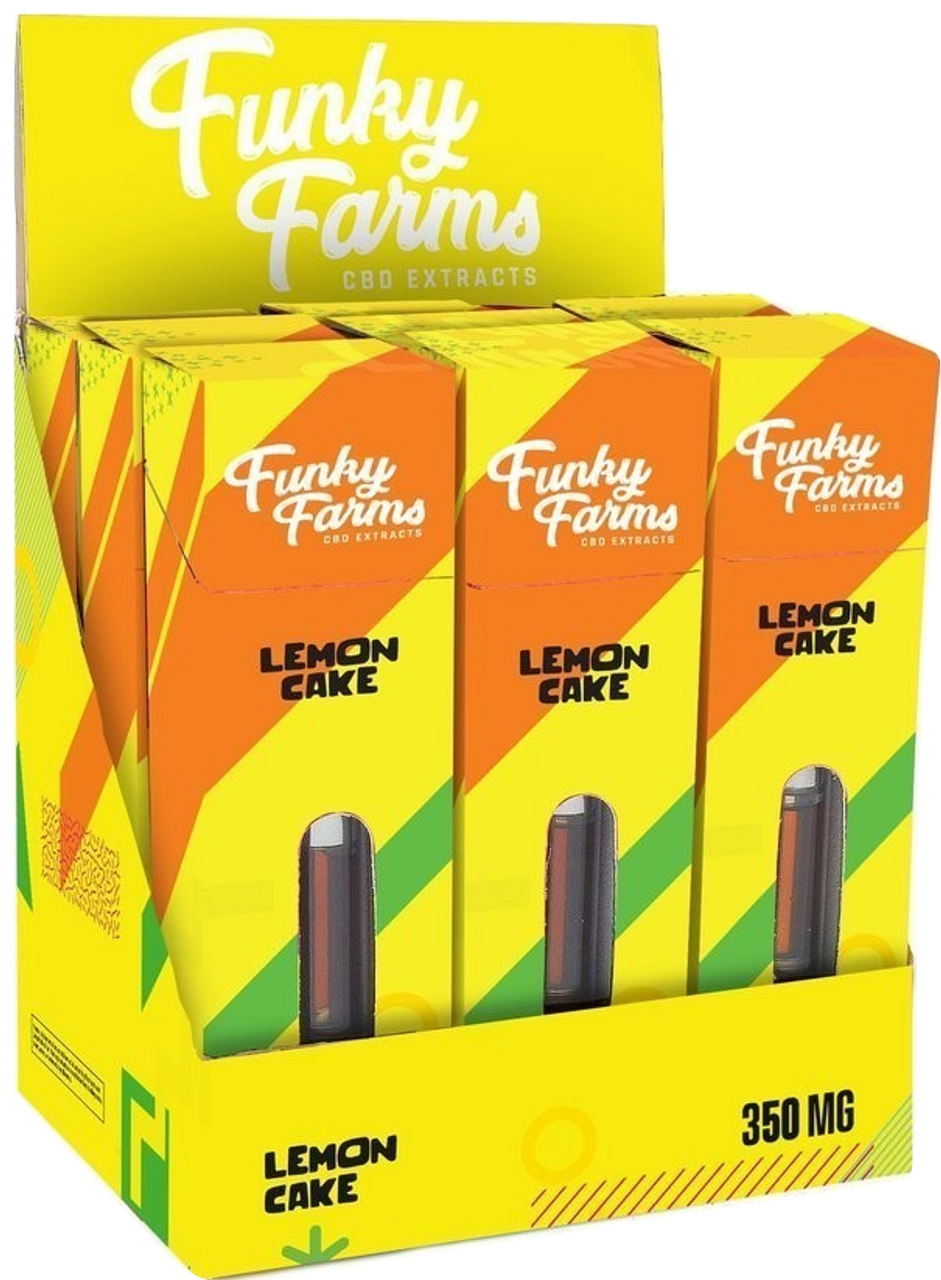 Funky Farms: Lemon Cake CBD Vape Cartridge (350mg) Display Box