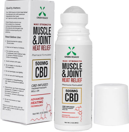 Green Roads: CBD Muscle & Joint Heat Relief Roll-On (500mg)