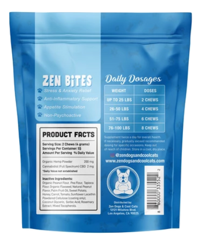 Zen Dogs and Cool Cats: Zen Bites CBD Dog Chews Snack Pack (30mg)