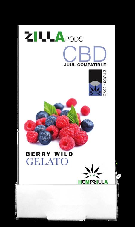 Hempzilla: Berry Wild Gelato CBD Zilla Vape Pods (300mg) Display Box