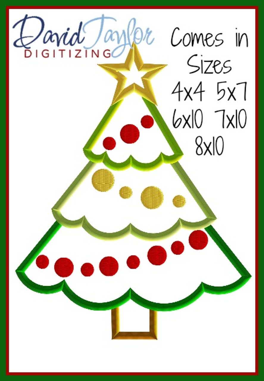 FREE - Christmas Tree Machine Applique Embroidery Design