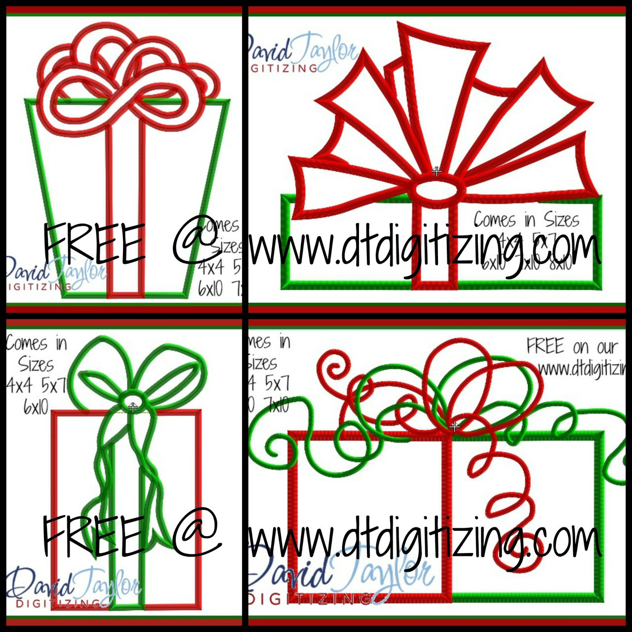 FREE - Set of 4 Christmas Gifts Machine Applique Embroidery Design ...