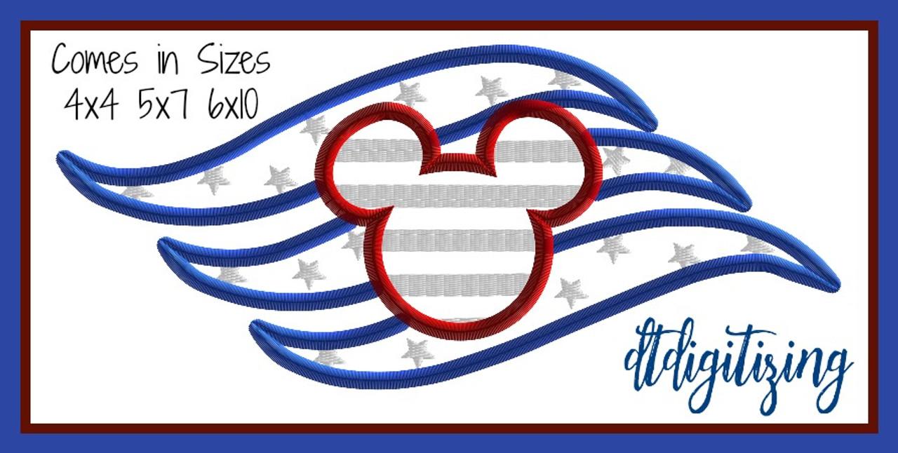 FREE Patriotic DCL Logo Machine Applique Embroidery Design