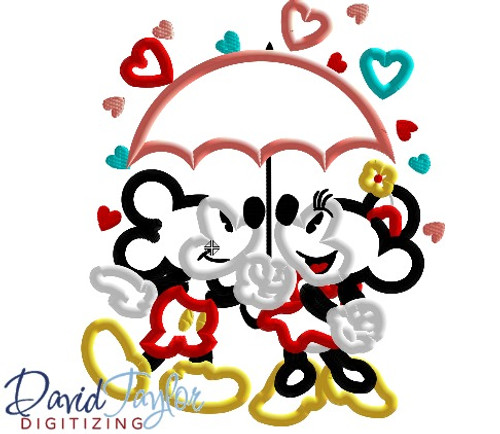 Mr And Mrs Mouse Valentine S Day Umbrella Machine Applique