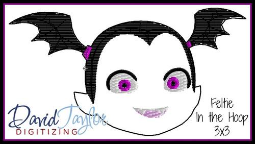 Vampire Girl Feltie Machine Embroidery Design In the Hoop