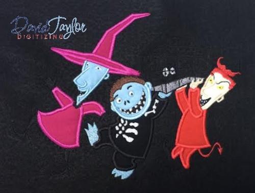 Nightmare b christmas trio machine applique embroidery design