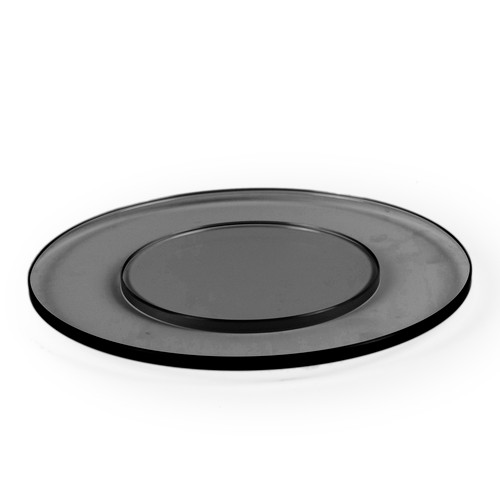 Large Round Black Glass Plinth