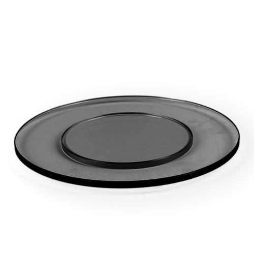 Large Round Black Glass Plinth