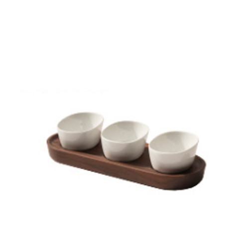 Walnut Porcelain condiment set